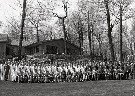 May 1, 1960 - Group photo of Dwight D. Eisenhower and Mamie Eisenhower with Camp David personnel