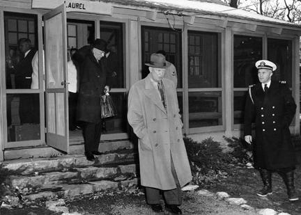 November 22, 1955 - Dwight D. Eisenhower going to cabinet meeting held at Camp David
