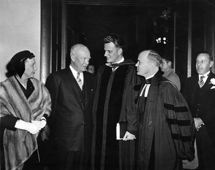 March 6, 1955 - Mamie Eisenhower, Dwight D. Eisenhower, Rev. Billy Graham and Dr. Edward Elson