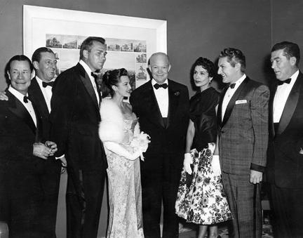 March 19, 1955 - Joe E. Brown, Ray Bolger, Howard Keel, Connie Russell, Dwight D. Eisenhower, Lena Horne, Liberace, and Sid Richardson