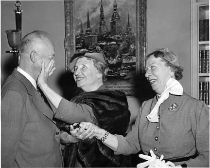 November 3, 1953 - Dwight D. Eisenhower with Helen Keller and Keller's companion Polly Thompson