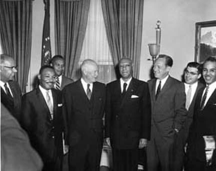 June 23, 1958 - Dwight D. Eisenhower receives a group of prominent civil rights leaders. Left to Right: Lester Granger, Dr. Martin Luther King, Jr., E. Frederic Morrow, DDE, A. Philip Randolph, William Rogers, Rocco Siciliano, and Roy Wilkins