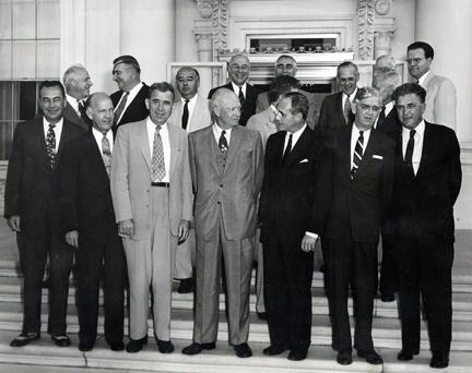 August 10, 1954 - Members of the Special Committee on Highway Problems of the Governors' Conference, and others had a luncheon with Dwight D. Eisenhower. Front Row: Wetherby of Kentucky; Pyle of Arizona; Kennon of Louisiana; Kohler of Wisconsin; Patterson of Oregon; and Lausche of Ohio.