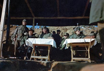 December 4, 1952 - Dwight D. Eisenhower and other high ranking officers and officials observe a field training exercise performed by infantrymen of the Republic of Korea's Capitol Division [77-18-865]