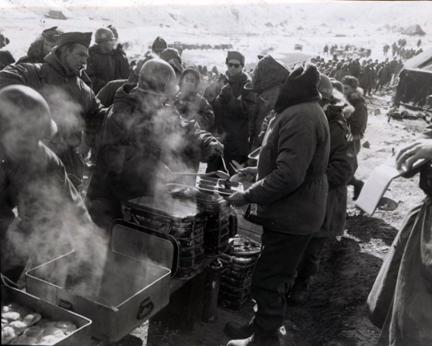 "December 4, 1952 - Dwight D. Eisenhower passes through the ""chow"" line of the 15th Infantry Regiment, 3rd US Infantry Division, Korea [77-18-897]"
