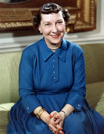March 30, 1954 - Mamie Eisenhower in the White House Diplomatic Reception Room