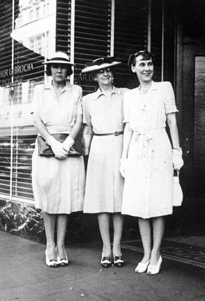 "1944 - MDE with her sister Frances ""Mike"" Moore and mother Elivera Doud"
