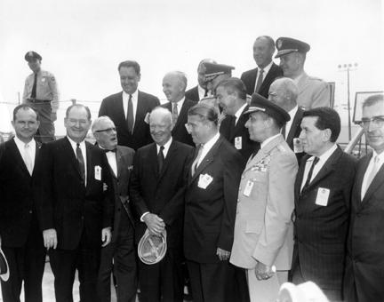 September 8, 1960 - Dwight D. Eisenhower and others participate in the dedication of the George C. Marshall Space Flight Center in Huntsville, Alabama.