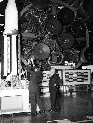 September 8, 1960 - Dwight D. Eisenhower tours the George C. Marshall Space Flight Center in Huntsville, Alabama with Dr. Wernher von Braun.
