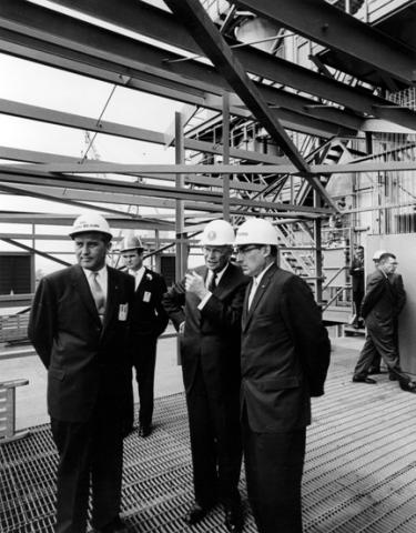 September 8, 1960 - Dwight D. Eisenhower tours the George C. Marshall space Flight Center in Huntsville, Alabama. Left to Right: Dr. Wernher von Braun, DDE, and Maj. General August Schomburg