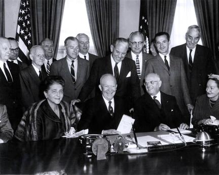 October 19, 1959 - Dwight D. Eisenhower with Committee Chairmen of Dwight D. Eisenhower's People-to-People program