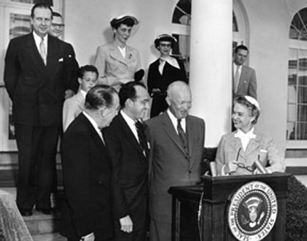 April 22, 1955 - Presentation of citations by Dwight D. Eisenhower to Dr. Jonas Salk and Mr. O'Connor