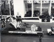 The state of Texas float in the inaugural parade depicts the birthplace of President Eisenhower. January 20, 1953 [68-350-19]
