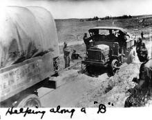"""Helping along a 'B'"" 1919 Transcontinental Motor Convoy."