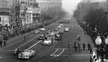 January 20, 1953 - A view of the Presidential section of the Inaugural Parade as it passes the large crowd of people lining the street -