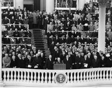 January 21, 1957 - Reverend Edward Elson leading the invocation at the inauguration [72-2061-11]