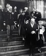 January 20, 1957 - Dwight D. Eisenhower and Mamie Eisenhower leaving the National Presbyterian Church following a pre-inaugural service [72-2061-6]