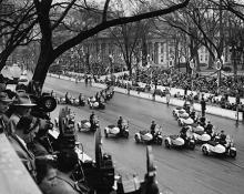 January 21, 1957 - The police motorcycle units leading the inaugural parade [72-2063-39]