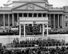 January 21, 1957 - The Marine Corps Band plays during Dwight D. Eisenhower's inauguration [72-2063-7]