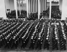 January 21, 1957 - A military unit passes in review during the inaugural parade [72-2063-82]
