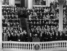 January 21, 1957 - Marian Anderson singing the National Anthem at Dwight D. Eisenhower's inauguration [72-2063-9]