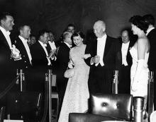 January 21, 1957 - Dwight D. Eisenhower and Mamie Eisenhower arrive at an inaugural ball [72-2064-17]