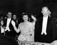 January 21, 1957 - Dwight D. Eisenhower and Mamie attend an inaugural ball [72-2064-24]