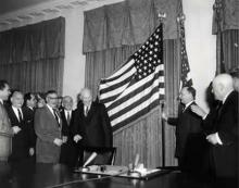 January 3, 1959 - Unfurling of the new 49-star flag. [72-2933-2]