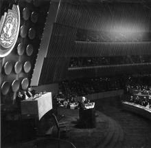 December 8, 1953 - Dwight D. Eisenhower delivering his Atoms for Peace speech before the U.N. General Assembly. [72-595-11]