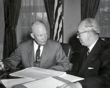 March 30,1954 - Dwight D. Eisenhower receives a report from Lewis L. Strauss, Chairman of the Atomic Energy Commission, on the hydrogen bomb tests in the Pacific. [72-767-1]