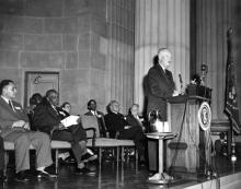 March 10, 1954 - Dwight D. Eisenhower says a few words of greeting to a meeting of the NAACP [72-724-6]