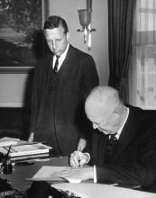 March 18, 1959 - Dwight D. Eisenhower signing the Hawaii Statehood Bill [72-3025-1]