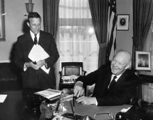 March 18, 1959 - Dwight D. Eisenhower signing the Hawaii Statehood Bill [72-3025-3]