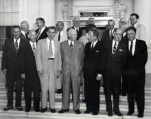 August 10, 1954 - Members of the Special Committee on Highway Problems of the Governors' Conference, and others had a luncheon with Dwight D. Eisenhower. Front Row: Wetherby of Kentucky; Pyle of Arizona; Kennon of Louisiana; Kohler of Wisconsin; Patterson of Oregon; and Lausche of Ohio. [72-1004-2]