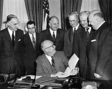 January 11, 1955 - Dwight D. Eisenhower receives member of the President's Advisory Committee on a National Highway Program. The group discussed federal and state highway programs.