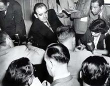 August 15, 1949 - Senator Joseph R. McCarthy talking to reporters after a session of his Senate Investigations Subcommittee.