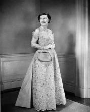 January 16, 1957 - Mamie Eisenhower in her inaugural ball gown [72-2057-2]